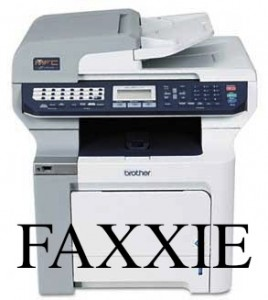 FAXXIE - Our corporate mascot and fax machine